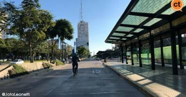 la bici fue un aliciente ante el paro general de transporte publico